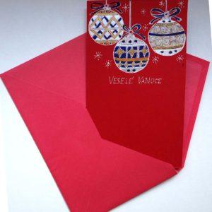 Vánoční přání na červeném papíře