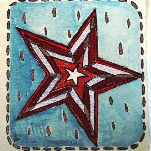 Vánoční přání na ručním papíře s hvězdou