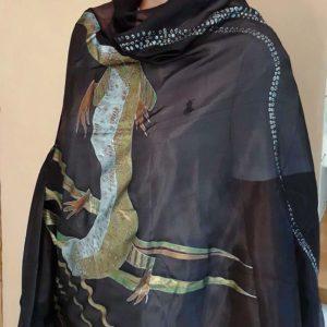 Hedvábný šál s ještěrkami